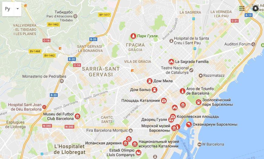 Карта достопримечательностей барселоны