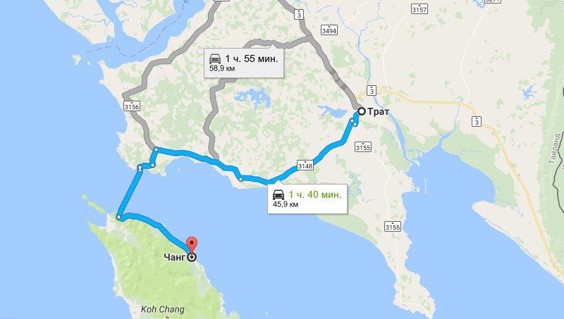 Карта маршрута Трат - Ко Чанг