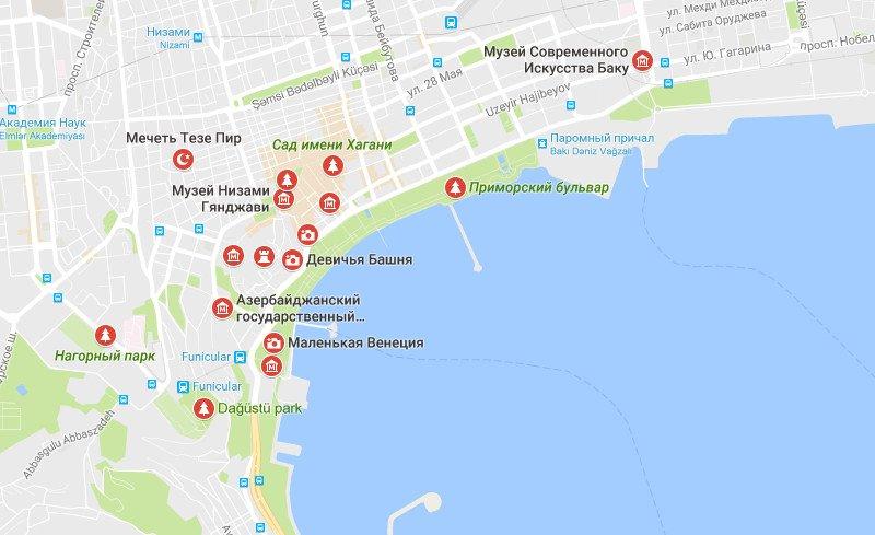 Карта достопримечательностей Баку