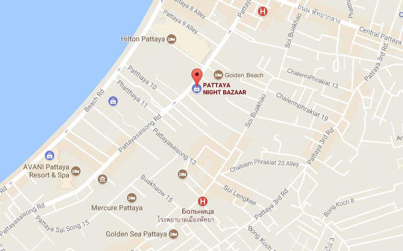 Ночной рынок на карте Паттайи