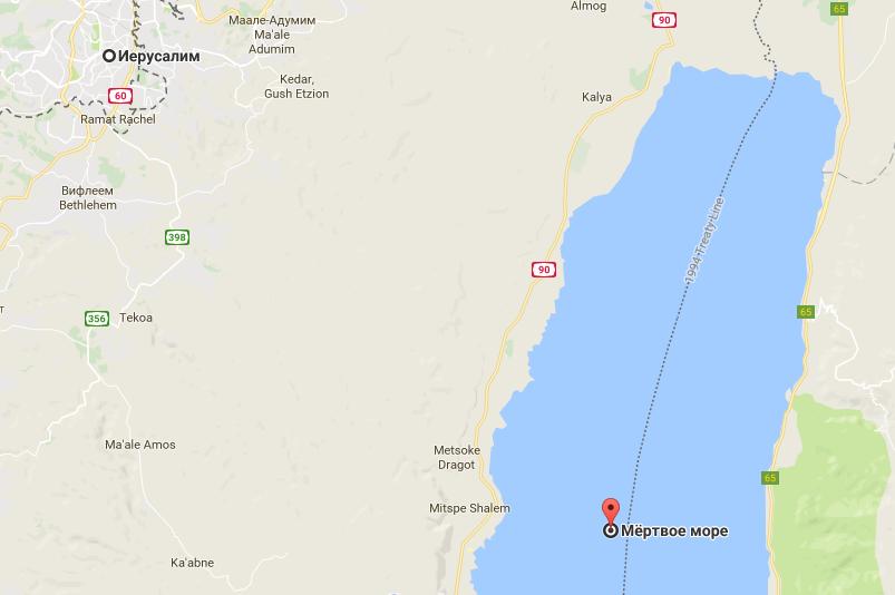 Иерусалим и Мертвое море на карте Израиля