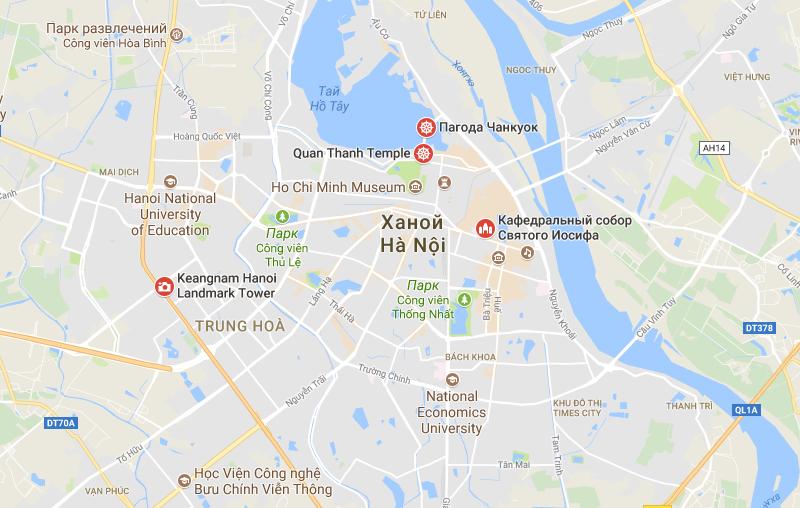 Карта достопримечательностей Ханоя