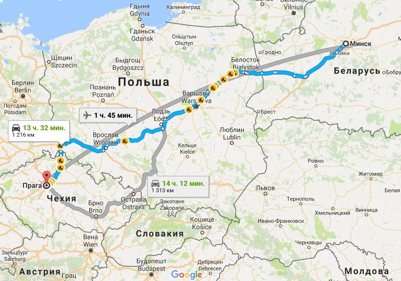 Карта маршрута Минск - Прага