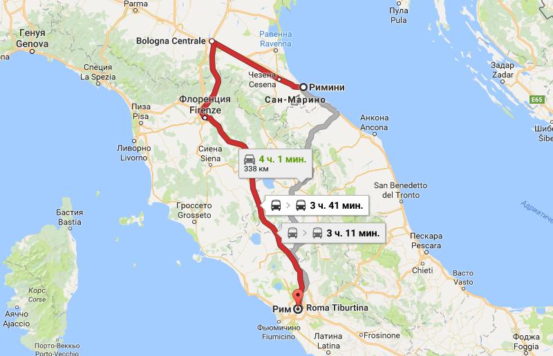 Карта маршрута Римини - Рим