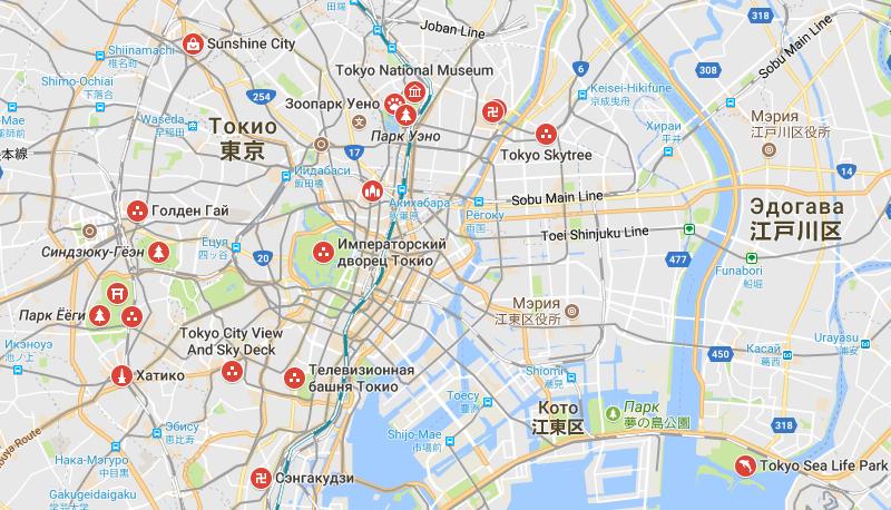 Карта Токио с достопримечательностями