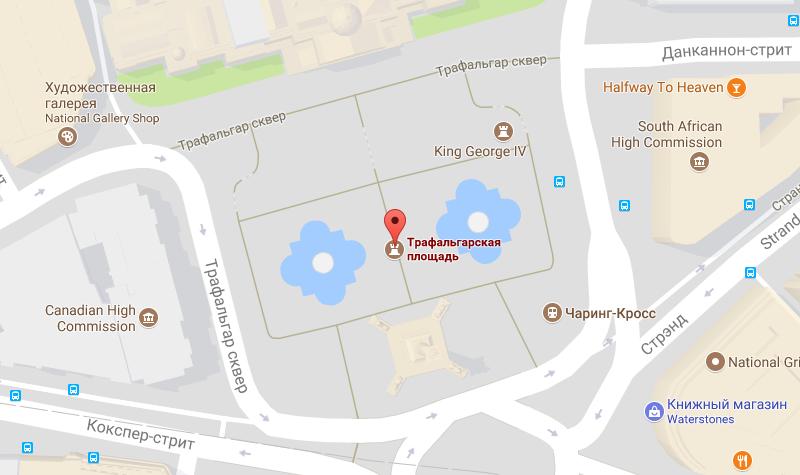 Площадь на карте Лондона