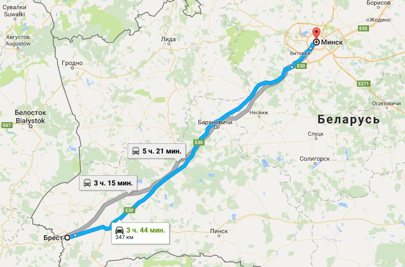 Расстояние от Бреста до Минска на карте