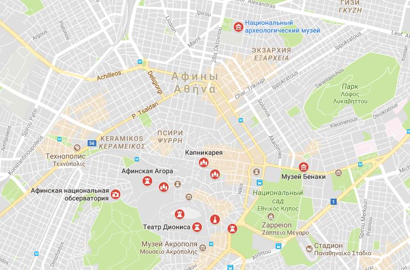 Карта достопримечательностей Афин