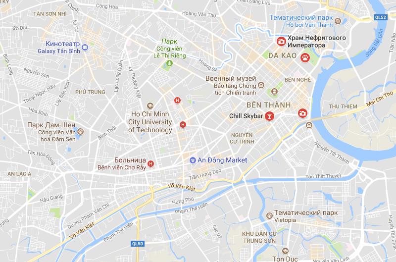 Карта достопримечательностей Хошимина