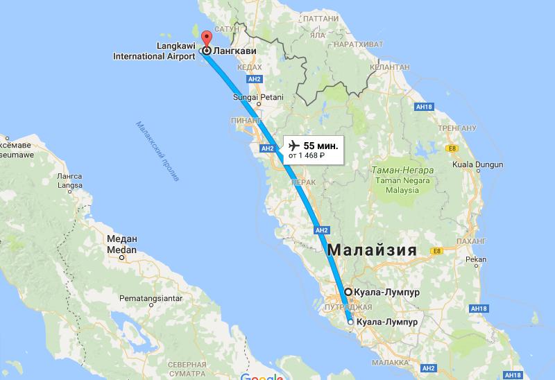 Карта маршрута до Лангкави
