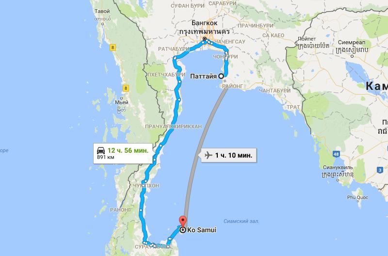 Карта Паттайя - Самуи