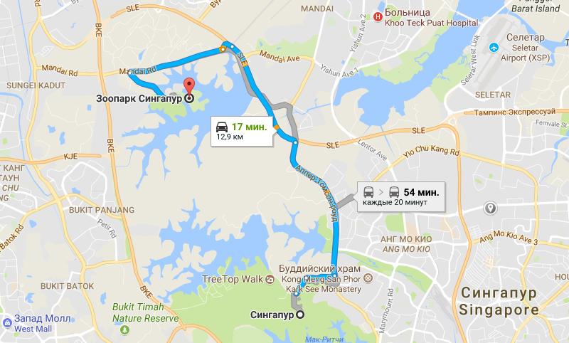 Карта проезда до зоопарка