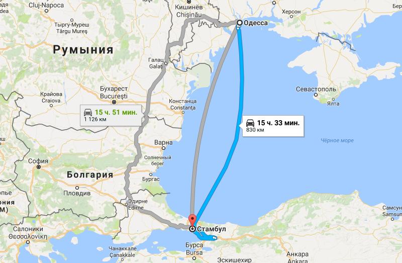 Маршрут Одесса - Стамбул на карте