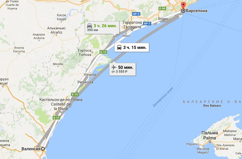 Путь в Барселону на карте