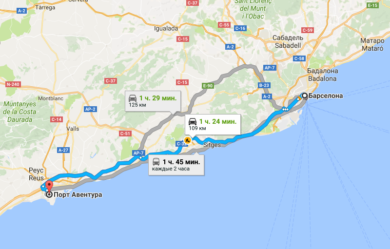Барселона - Порт Авентура на карте
