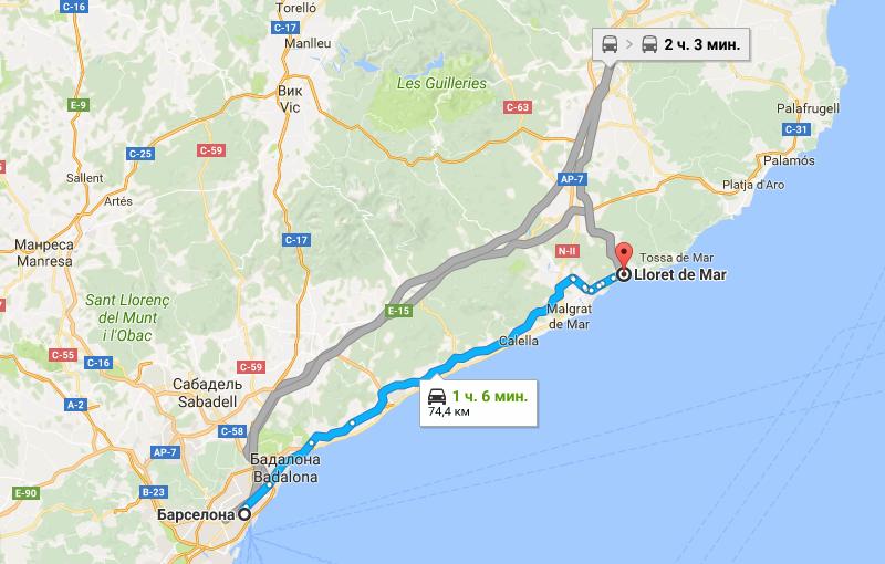 Карта Барселона - Ллорет де Мар
