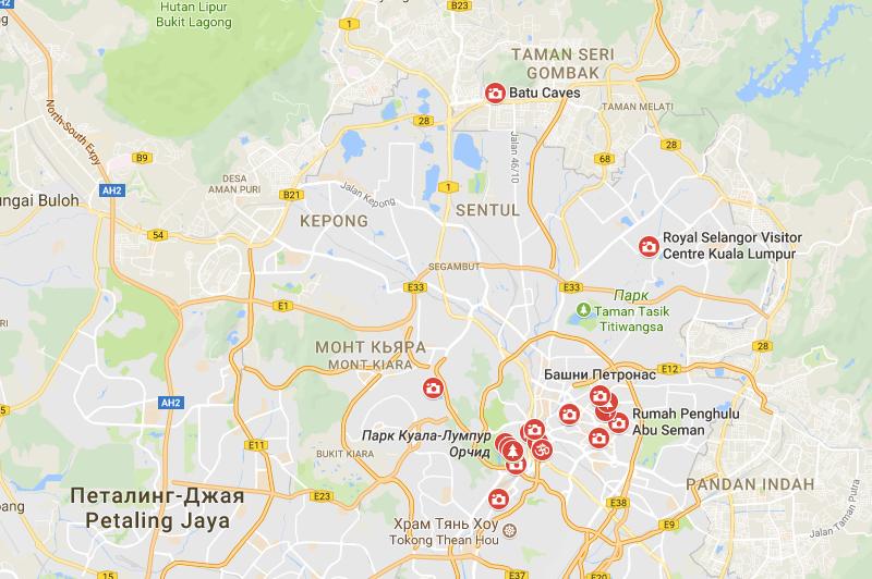 Карта достопримечательностей Куала-Лумпура