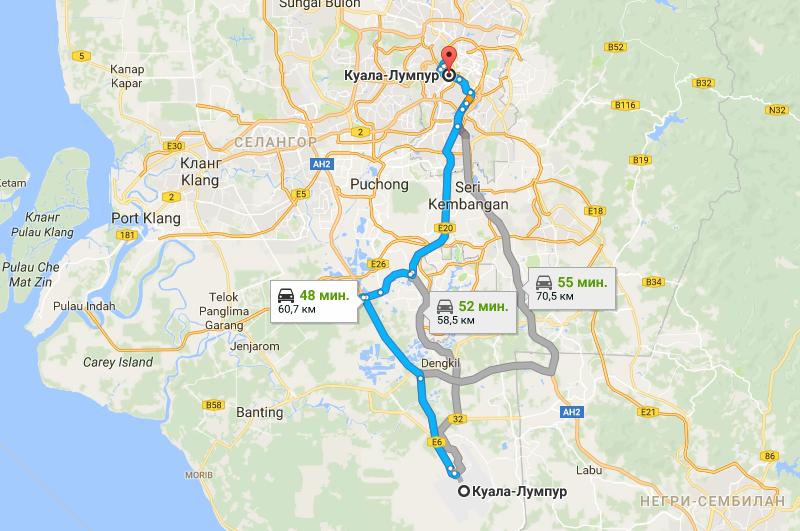 Карта маршрута аэропорт - Куала-Лумпур