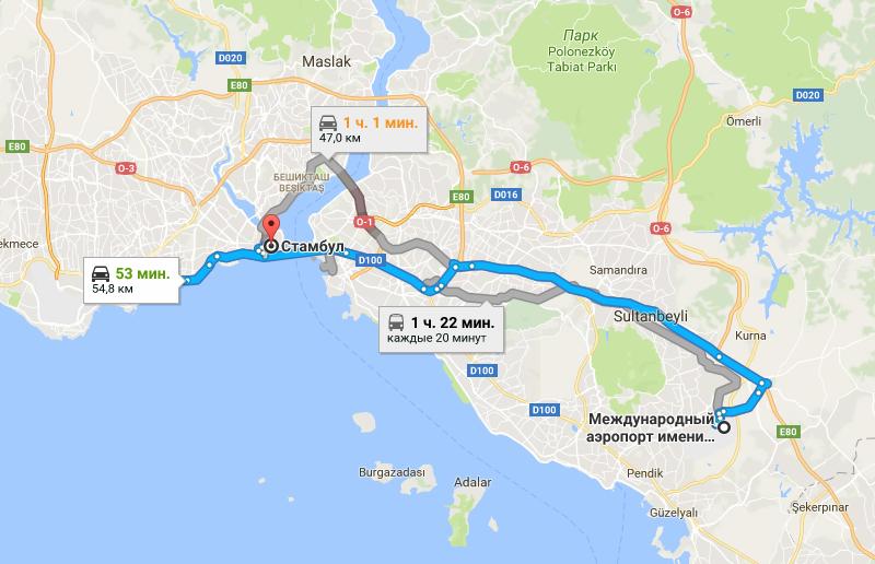 Дорога в Стамбул на карте