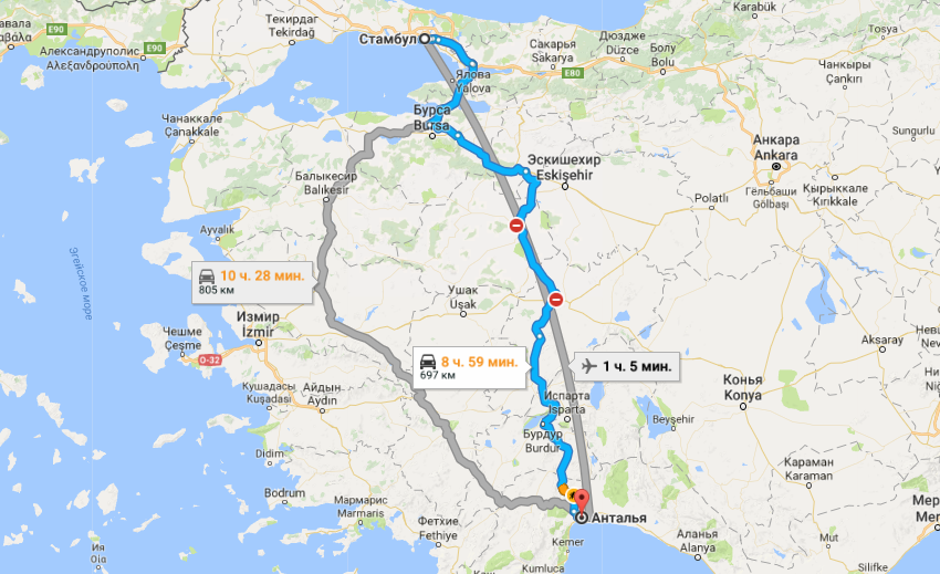 Карта маршрута в Анталию