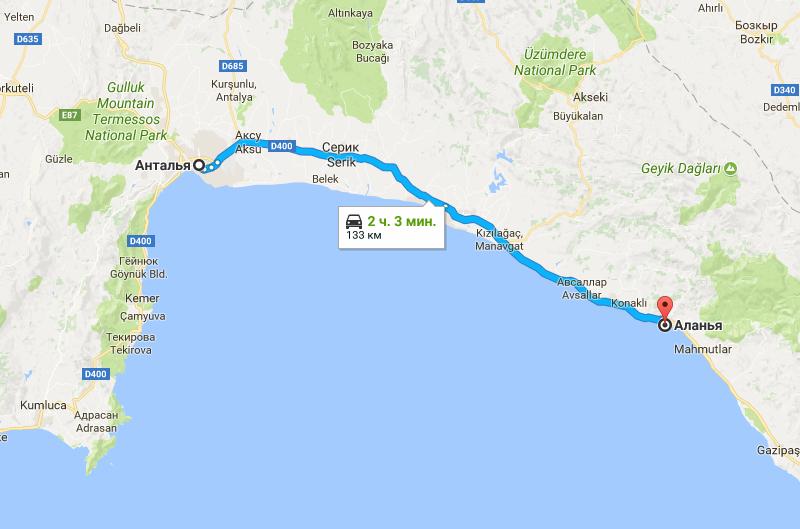 Карта маршрута в Аланию