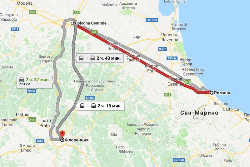 Карта маршрута из Римини во Флоренцию