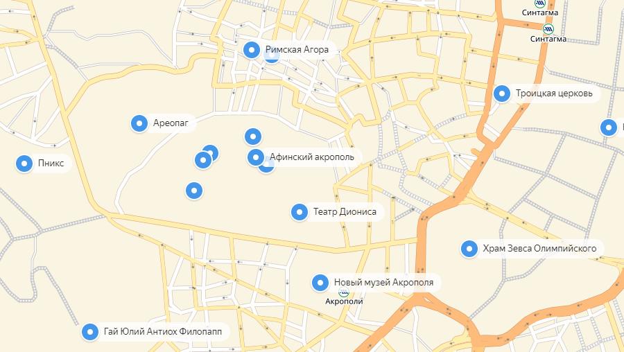 Карта музеев Акрополя