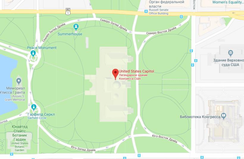 Капитолий на карте Вашингтона