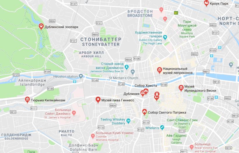 Карта достопримечательностей Дублина