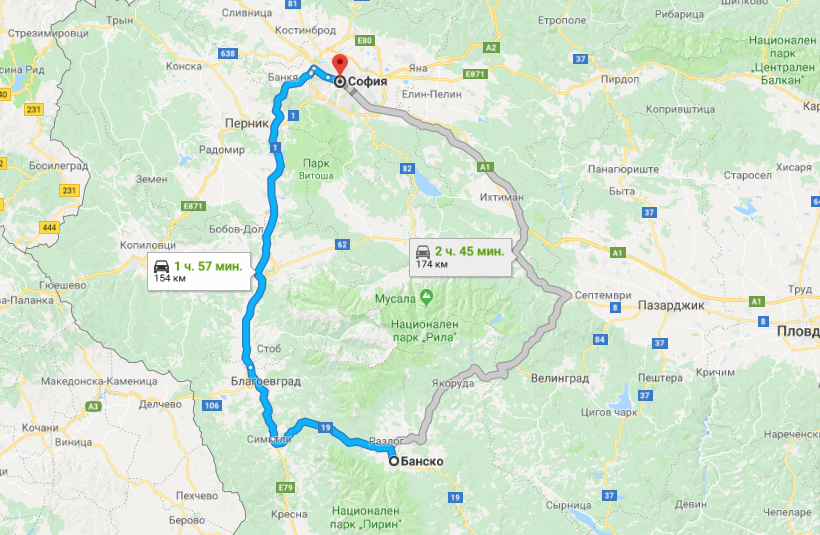 Маршрут Банско - София на карте