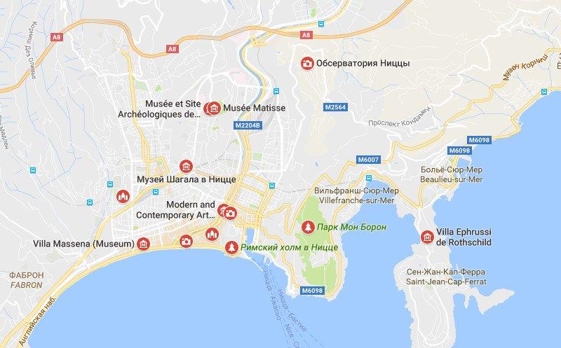 Карта достопримечательностей Ниццы