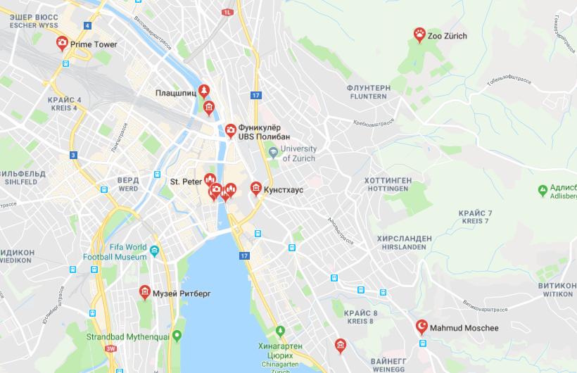 Достопримечательности на карте Цюриха
