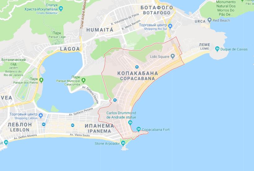 Пляж на карте города