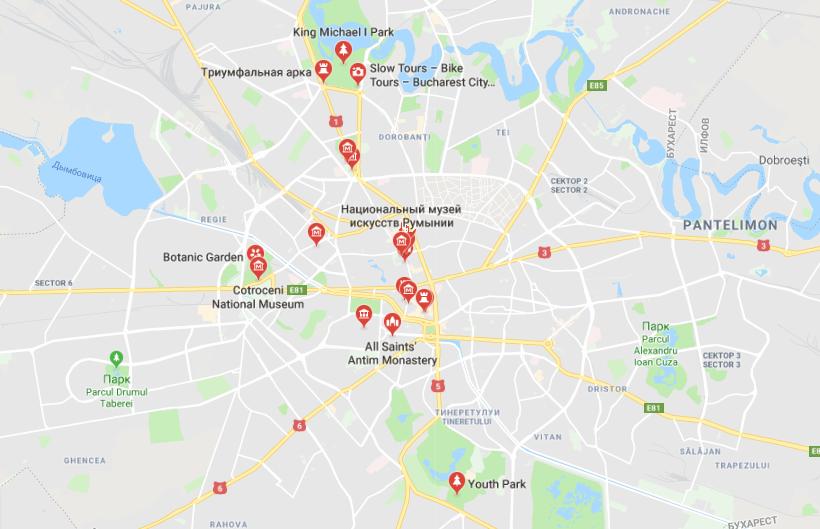 Карта достопримечательностей Бухареста