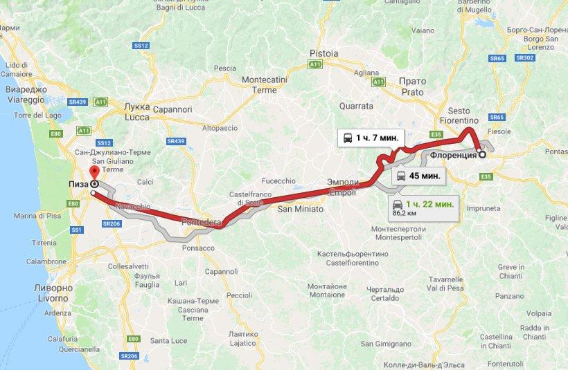 Карта маршрута из Флоренции в Пизу