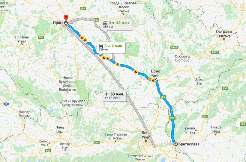 Карта маршрута из Братиславы в Прагу