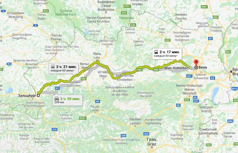 Карта маршрута в Вену