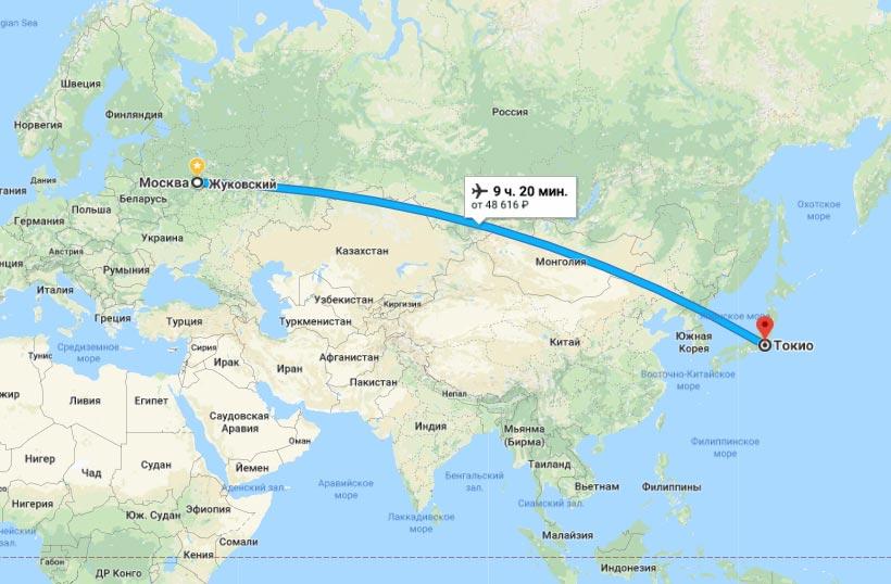 Маршрут Москва-Токио на карте