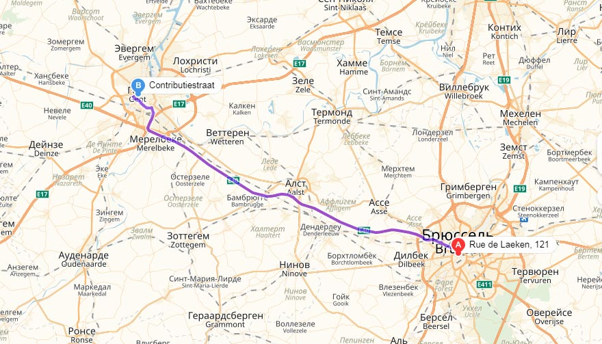 Карта маршрута Брюссель - Гент