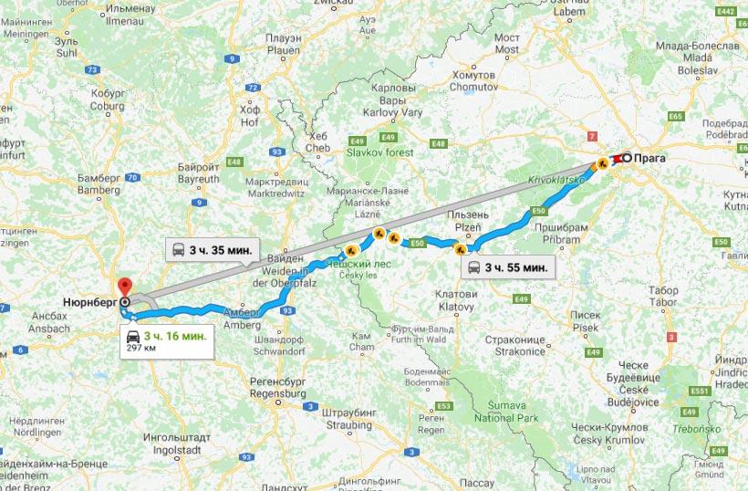 Карта маршрута Прага - Нюрнберг