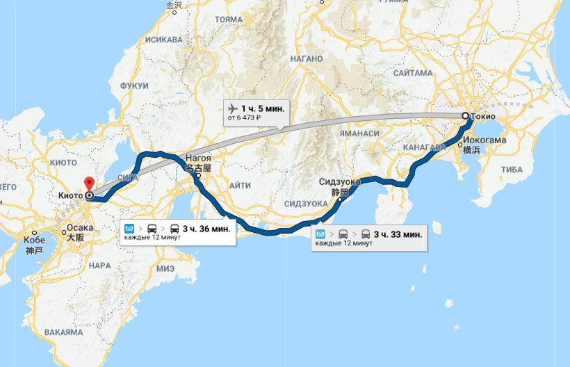 Карта маршрута Токио - Киото