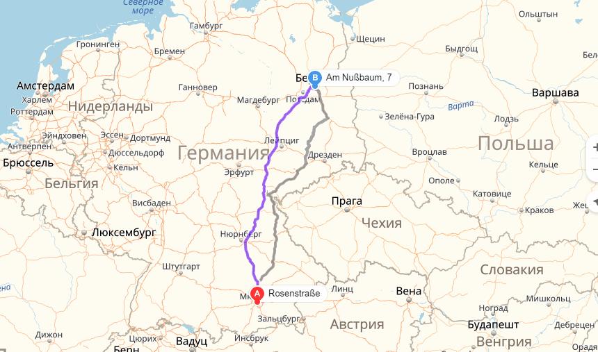 Карта маршрута Мюнхен - Берлин