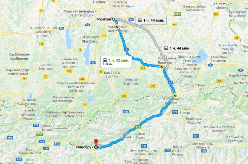 Карта маршрута из Мюнхена в Инсбрук
