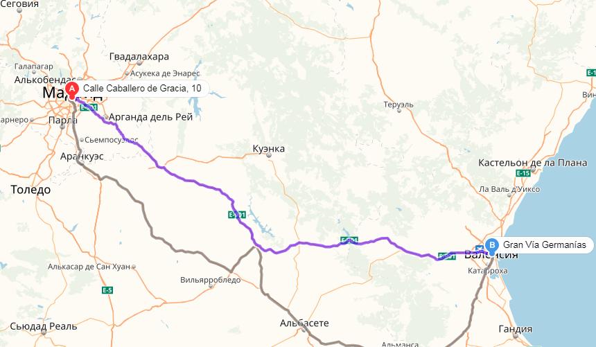 Карта маршрута из Мадрида в Валенсию
