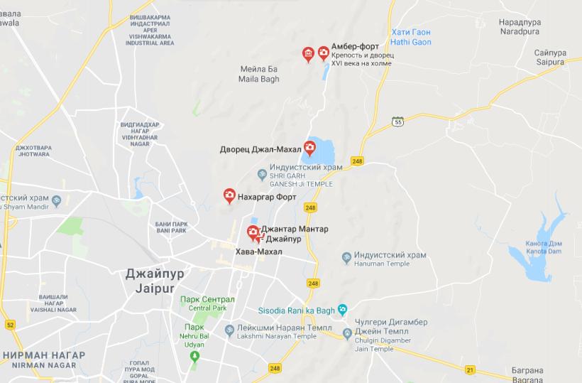 Карта достопримечательностей Джайпура