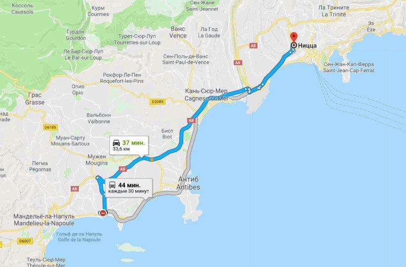 Карта маршрута Канны - Ницца