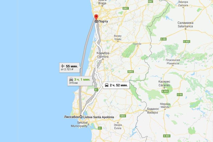 Карта маршрута Лиссабон - Порту