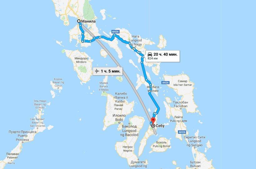 Карта маршрута Манила - Себу