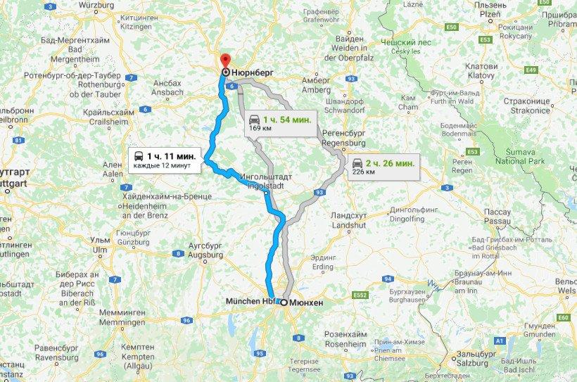 Карта маршрута Мюнхен - Нюрнберг
