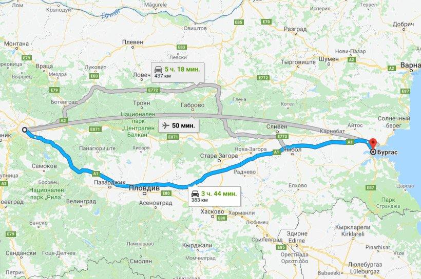 Карта маршрута София - Бургас